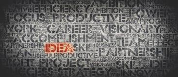 Красное слово ИДЕИ окруженное связанными с работ словами стоковое изображение