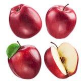 Красное собрание яблока Комплект плодоовощ и лист изолированных на белизне Стоковое Фото