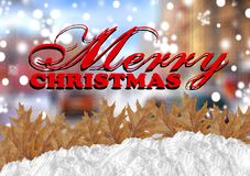Красное с Рождеством Христовым с городом blurr и снегом и листьями Стоковая Фотография