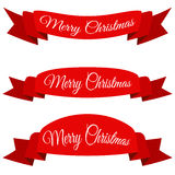 Красное с Рождеством Христовым знамя Комплект лент с текстом Стоковое Изображение