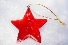 Красное украшение звезды рождества Стоковое фото RF