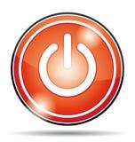 Красное электропитание с значка кнопки Стоковое Изображение RF