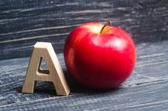 Красное яблоко и помечает буквами a Концепция начального образования 9 удерживания мальчика яблока детенышей учителя усмешки школ стоковое изображение