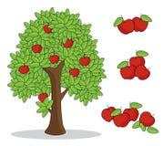 Красное яблоко на дереве с белой предпосылкой изолированный чертеж руки doodle бесплатная иллюстрация