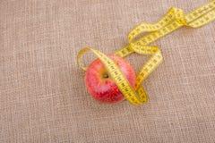 Красное яблоко с лентой измерения на ей Стоковое Изображение