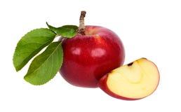 Красное яблоко и часть яблока Стоковое Изображение