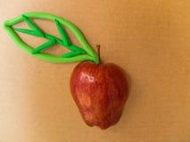 Красное яблоко с лист зеленого цвета пластилина Стоковое фото RF
