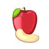 Красное яблоко с лист и куском Стоковое Фото
