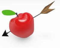 Красное яблоко с стрелкой Стоковые Изображения