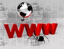 красное 3D www и серебряный глобус Стоковое Фото