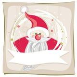 Красное Santa Claus на снежинках и зеленых многоточиях Стоковое Изображение RF