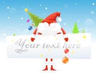 Красное Santa Claus с рождественской елкой Стоковое Изображение