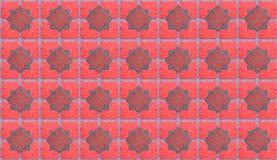 красное symmetri картины терракоты орнамента косоугольника плитки backgroundcal Стоковые Фотографии RF