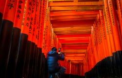 Красное Toii на святыне Fushimi Inari-taisha Стоковые Фотографии RF