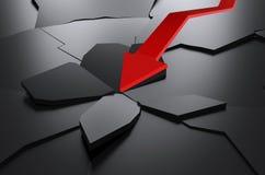 Красной поверхность треснутая стрелкой Стоковое Изображение