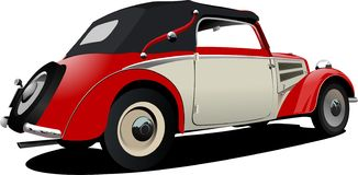 Красно-белые 50 лет cabriolet автомобиля на дороге бесплатная иллюстрация