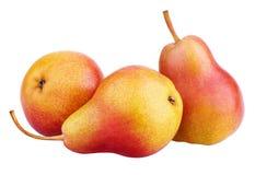 3 красно-желтых плодоовощ груши изолированного на белизне Стоковая Фотография