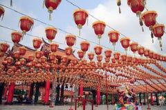 Красно-китайское украшение фонарика стоковая фотография rf