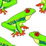 Красно-наблюдают лягушка безшовной картины древообразная также вектор иллюстрации притяжки corel Стоковое Изображение RF