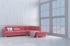 Красно-розовая софа дня ` s валентинки влюбленности Предпосылка и интерьер 3d представляют скопируйте космос Стоковое Изображение