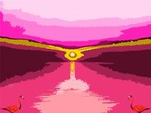 2 красно-розовых фламинго абстрактное искусство иллюстрация штока