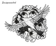 Красно-увенчанное летание вектора крана вручную рисуя стоковые изображения