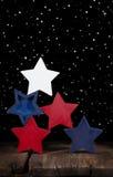 Красные белые & голубые деревянные звезды Стоковое Фото