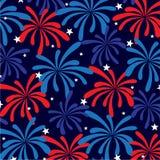 Красные белые голубые фейерверки и звезды Стоковое фото RF