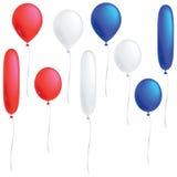 Красные, белые и голубые воздушные шары Стоковые Фотографии RF