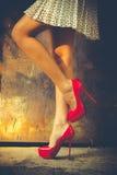 Красные ботинки высокой пятки Стоковое Изображение RF