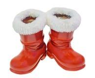 Красные ботинки Санта Клауса, ботинки St Nicholas boots подарки, белая предпосылка Стоковые Изображения RF