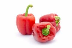 Красные болгарские перцы изолированные на белой предпосылке Стоковое Изображение