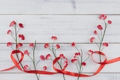 Красные бумажные цветки с ветвью и красная лента Стоковые Изображения