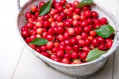 Красные вишни в белой корзине на белой деревянной предпосылке поднимающее вверх вишни близкое Стоковая Фотография