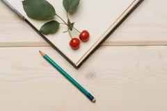 Красные вишни карандаш и дневник Стоковая Фотография