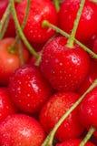 Красные вишни с водой падают конец-Вверх Стоковое Фото