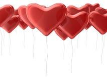 Красные воздушные шары сердца Стоковые Фотографии RF