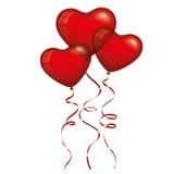 Красные воздушные шары сердца Стоковые Изображения RF