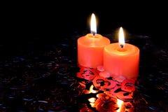 Красные горящие свечи Стоковая Фотография