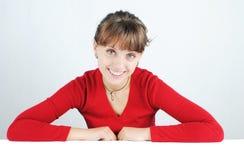 красные детеныши женщины свитера Стоковые Фото