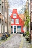 Красные дома в Харлеме, Нидерландах Стоковая Фотография