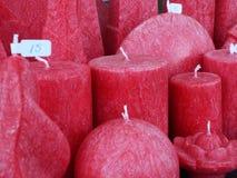 Красные декоративные свечи Стоковые Изображения