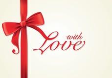 Красные ленты и поздравительная открытка, смычки, влюбленность Стоковое Фото