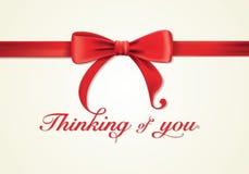 Красные ленты и поздравительная открытка, смычки, спасибо Стоковые Изображения RF