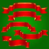 Красные ленты при золотые установленные нашивки Стоковое Изображение RF