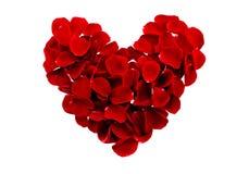 Красные лепестки розы сердца Стоковое Фото