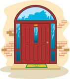 Красные деревянные двери входят в стоковое изображение rf