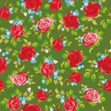 Красные естественные розы безшовная предпосылка, иллюстрация вектора Бесплатная Иллюстрация