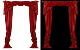 Красные занавесы на светотеневой предпосылке Стоковое Изображение RF