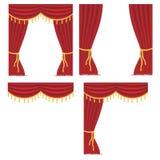 Красные занавесы с набором drapery бесплатная иллюстрация
